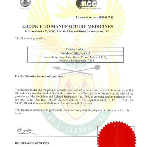 GMP Manufacturing Pharmacy Licence